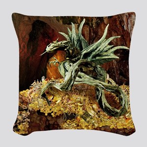 Dragons Lair Square V Lt Woven Throw Pillow