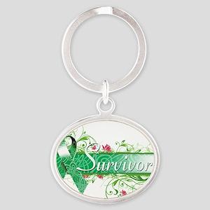 Survivor Floral copy Oval Keychain