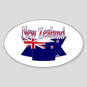 New Zealand flag ribbon Oval Sticker