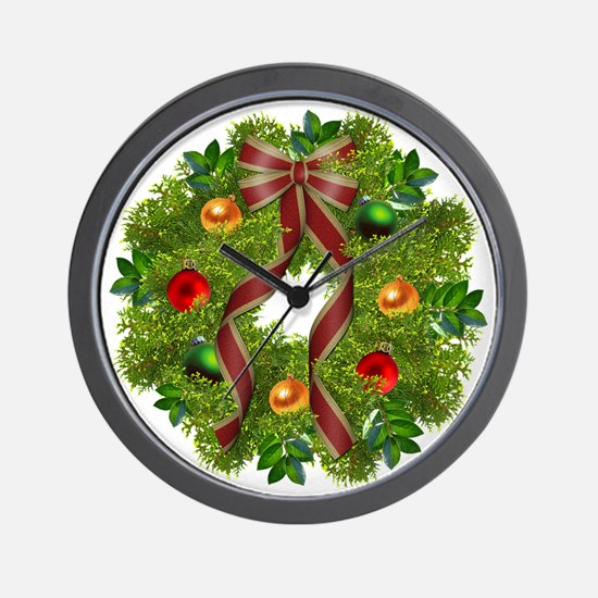 xmas wreath Wall Clock