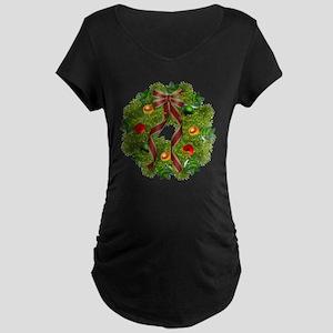 xmas wreath Maternity Dark T-Shirt