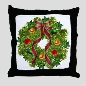 xmas wreath Throw Pillow