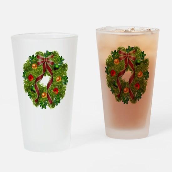xmas wreath Drinking Glass