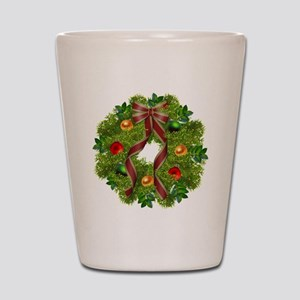 xmas wreath Shot Glass