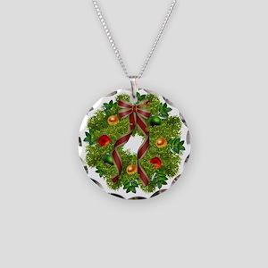 xmas wreath Necklace Circle Charm