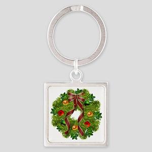 xmas wreath Square Keychain