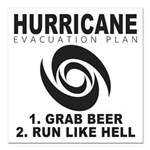 "Hurricane Evacuation Plan Square Car Magnet 3"" x 3"