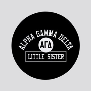 "Alpha Gamma Delta Little Sister Athlet 3.5"" Button"