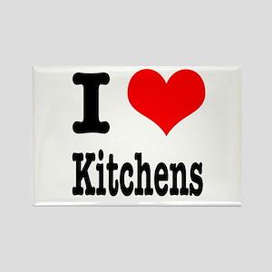 I Heart (Love) Kitchens Rectangle Magnet