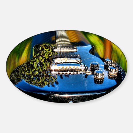 Rocked Out Guitar Sticker (Oval)