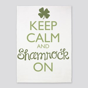 Keep Calm and Shamrock On 5'x7'Area Rug