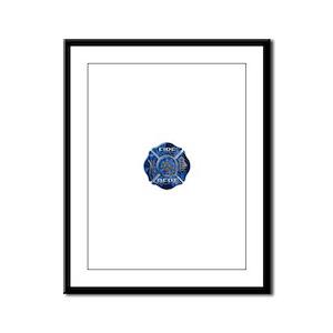 Maltese Cross-Blue Flame Framed Panel Print