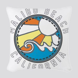 Malibu Wave Badge Woven Throw Pillow
