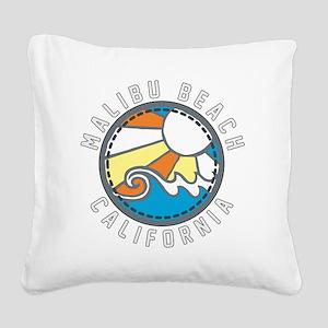 Malibu Wave Badge Square Canvas Pillow
