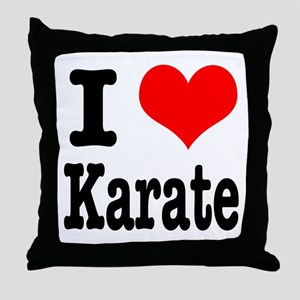 I Heart (Love) Karate Throw Pillow