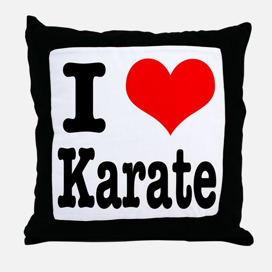 I Heart (Love) Karate Throw Pillow
