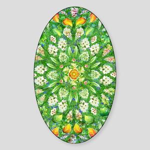 Fire Rose Mandala half vert Sticker (Oval)