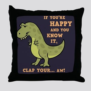 t-rex-clap-2-TIL Throw Pillow