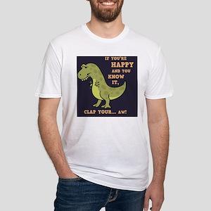 t-rex-clap-2-TIL Fitted T-Shirt