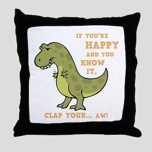 t-rex-clap-2-DKT Throw Pillow