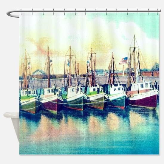 Vintage Shrimp Boat Post Card Shower Curtain