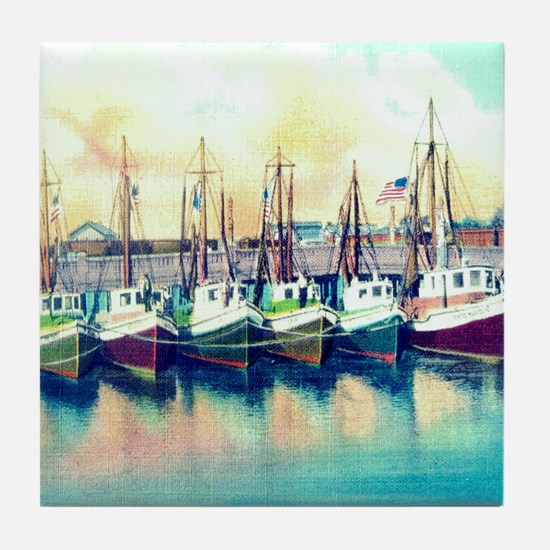 Vintage Shrimp Boat Post Card Tile Coaster