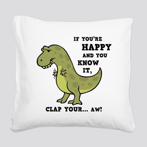 t-rex-clap-2-LTT Square Canvas Pillow