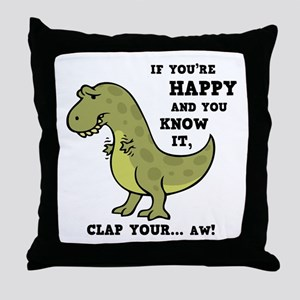 t-rex-clap-2-LTT Throw Pillow