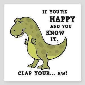 "t-rex-clap-2-LTT Square Car Magnet 3"" x 3"""