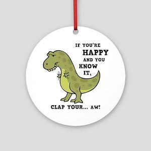 t-rex-clap-2-LTT Round Ornament