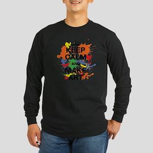 Keep Calm and Make Art Long Sleeve Dark T-Shirt