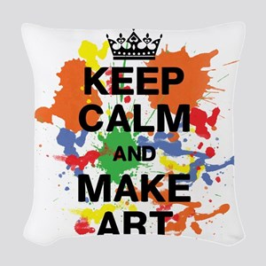Keep Calm and Make Art Woven Throw Pillow