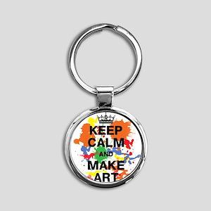 Keep Calm and Make Art Round Keychain
