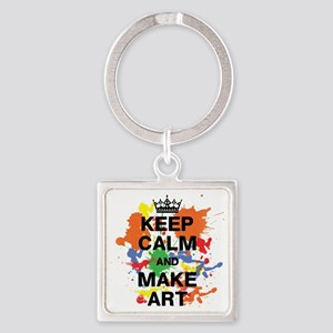 Keep Calm and Make Art Square Keychain