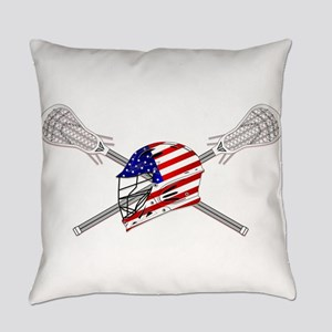 American Flag Lacrosse Helmet Everyday Pillow