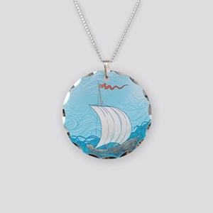 Sailboat Necklace Circle Charm