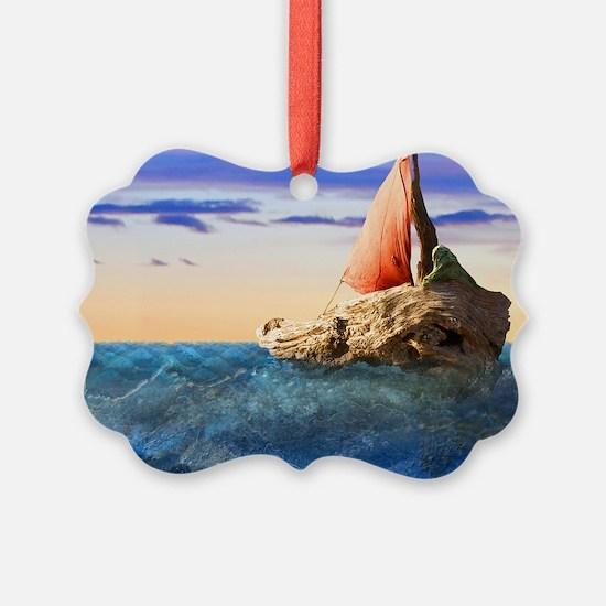 Brendans Boat horiz nar lt2 Ornament