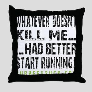 Better Start Running II - White Throw Pillow