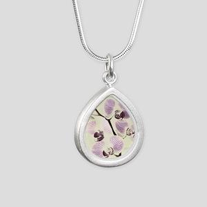 Light Orchids Silver Teardrop Necklace