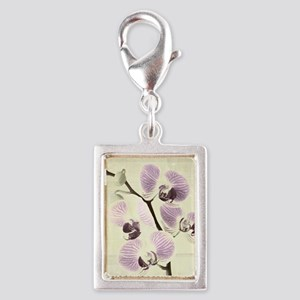 Light Orchids Silver Portrait Charm