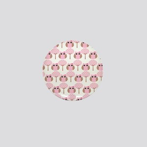 Pink Owls Mini Button