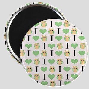 Green Love Owls Magnet
