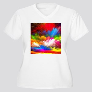 Abstract Clouds Women's Plus Size V-Neck T-Shirt