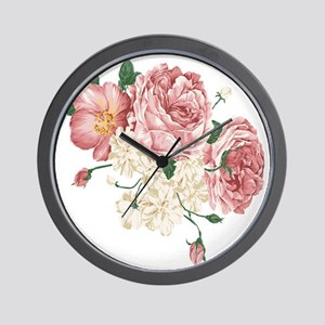 Pink Roses Flower Wall Clock