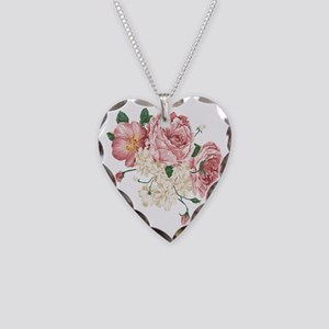 Pink Roses Flower Necklace Heart Charm