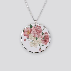 Pink Roses Flower Necklace Circle Charm