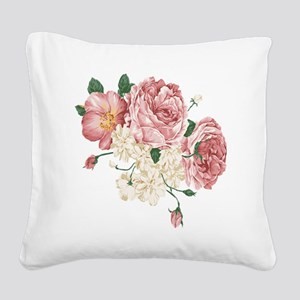 Pink Roses Flower Square Canvas Pillow