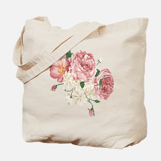 Pink Roses Flower Tote Bag