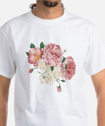 Pink Roses Flower White T-Shirt