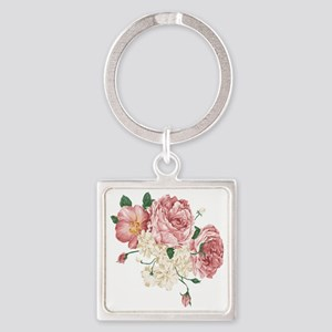 Pink Roses Flower Square Keychain